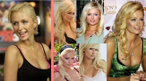 A collage of paris Hilton with and without hair extensions. paris hilton is known for weaing hair extensions and walking out the door with long beautiful flowing hair on day and shorter fierce locks the next. Paris Hilton is so well known for wearing hair additions that she started her own hair extensions brand that includes phony ponys, clip ins and hair pieces
